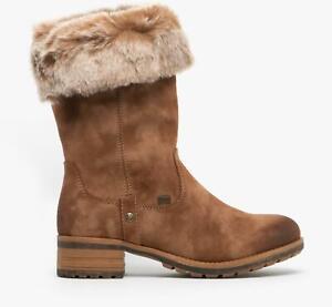 Rieker 96854-24 Ladies Womens Winter Warm Block Heel Zip Up Mid Calf Boots Brown