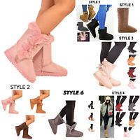 Ladies Womens Winter Boots Snow Fur Warm Comfy Casual Fashion Mid Calf Shoe Size