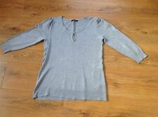 Ladies Grey Jumper With Keyhole Neckline Size 12, Three Quarter Sleeve, George