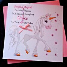 Handmade Personalised Girls Magical Unicorn Birthday Card Daughter Niece Grandda
