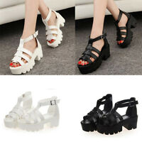 Women Cut Out Chunky Sandals Lady Cleated Sole High Heel Platform Shoes 35-39