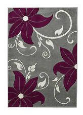 Verona OC15 Grey/Purple - Autumn Floral stem leaves carved small rug - 060 x 120