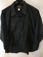 MENS RUSTLER X-LONG TAILS SOLID BLACK WESTERN PEARL-SNAP COUNTRY RODEO SHIRT XLT