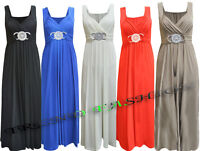 LADIES LONG FORMAL EVENING PARTY BUCKLE CELEB MAXI SLEEVELESS PARTY DRESS 8 - 26