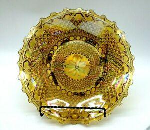 "INDIANA Carnival Glass Bowl Diamond Point Marigold Ruffled Edge 10"" EUC"