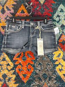 LA Idol womens dark wash distressed frayed flap stretch jean shorts M NWT