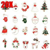 20Pcs/Set Enamel Mixed Christmas Charms Pendant For DIY Jewelry Making Crafts