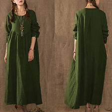 Womens Vintage Linen Plus Tops Long Maxi Dress Loose Pullover Kaftan Baggy Tunic Army Green 18
