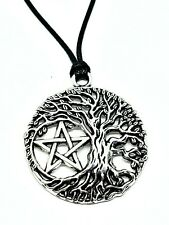 Pentacle Pentagram Tree of Life Pendant Pagan Wiccan Corded Necklace