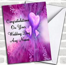 Día De Boda Romántico Corazones Púrpura Tarjeta Personalizada