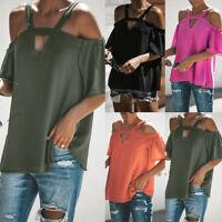 Womens Cold Off Shoulder Tops T Shirt V Neck Short Sleeve Summer Top Blouse New