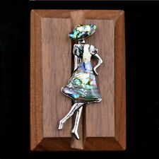 Sea Abalone Shell Lady in a Hat Brooch Pin