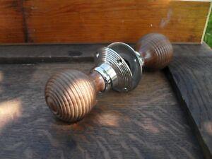 pair antique style wood beehive door knobs doorknobs spindle & silvered roses 6H