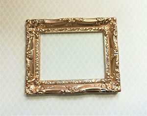 Dollhouse Miniature Large Fancy Gold Picture Frame for Painting 1:6 Scale