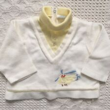 Vintage Tiny Tots Baby Boys Sweater Turtleneck Helicopter Size 9 Months White