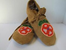 AUTHENTIC LEATHER NATIVE AMERICAN MOCCASINS, HAND MADE, 9 INCHES, ORANGE FLOWER