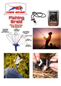 11 Stand Fishing Paracord Fire Starter Kit Necklace Flint & Scraper / Striker