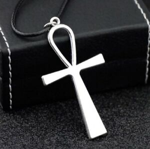 ANKH EGYPTIAN CROSS ETERNAL LIFE PENDANT NECKLACE CRUX CORD LEATHER NEW AGE UK