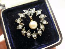 Victorian 15ct Gold & Silver Natural White Sapphire Brooch Pin Original Box