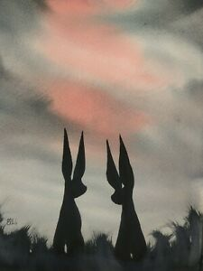 Original watercolour painting.  Hares on the moors.