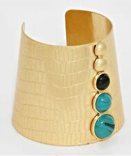 Wide Gold Tone Blue Metal Statement Costume Chunky Cuff Bangle Bracelet
