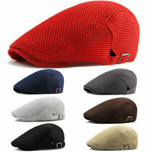 Men Mesh Hat Flat Cap Breathable Golf Driving outdoor Cabbie Newsboy HighQuality