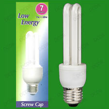 2x 7W (=40W) Low Energy Power Saving CFL Stick Light Bulbs; E27 Screw ES Lamps