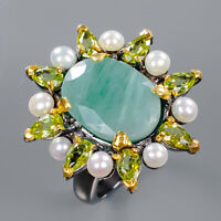 Emerald Ring Silver 925 Sterling Jewelry Fine ART Size 7 /R141539