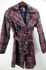 Cello jeans Polyester & Wool Blend Multi-Colored Belted Lined Pea-coat Small