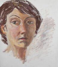 IMPRESSIONISM VINTAGE LADY HEAD PORTRAIT OIL PAINTING