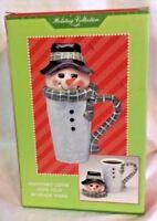 Beverage Buddies Snowman Tall Latte Travel Christmas Coffee Mug  NIB