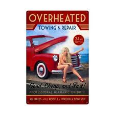 Overheated Hitchhiker Towing Repair Pin Up Pinup Girl Tin Metal Steel Sign 24x36