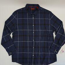 Alfani Red Men Dress Shirt Long Sleeve XXL Navy Brushed Plaid Button Up Slim $55
