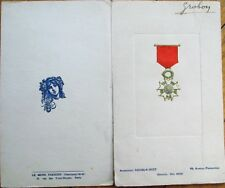 Menu: French 1932 w/Military Medal on Cover - Paris, France