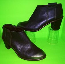 $235 MIISTA Anais Metallic Blue Leather Ankle Zip Low Booties Heel Shoes 38 8