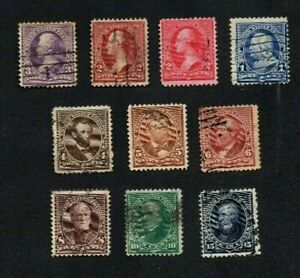1894-5. 10xDIFF'T (INC SHADES) PRESIDENTS 'WITH TRIANGLES' TO 15c G.U. c£73+