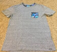 Mens On The Byas Gray Short Sleeve Floral Pocket Tee T-Shirt Size Small