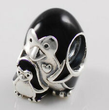 BLACK PENGUIN and BABY  .925 Sterling Silver European Style Charm Bead