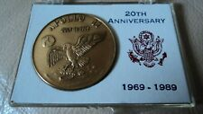 More details for apollo 11 20th anniversary 1969 - 1989  gold  plated ,  medal ,,  coin   ,