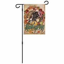 Thanksgiving Turkey Garden Flag & Pole 12x18in Novelty Cute Holiday Yard Flag