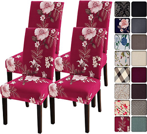 SearchI Dining Room Chair Covers Slipcovers Set of 4, Spandex Super Fit Stretch