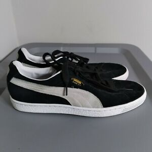 Puma Classic Suede Men's Size 8.5 Shoes Black/White Low Top Sneakers 352634-03