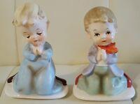 Pair of 2 Vintage Praying Children porcelain ceramic figurines Collectible