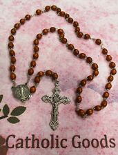 BROWN WOOD BEAD ROSARY WITH 20 MYSTERIES CENTER PIECE