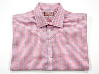 Thomas Pink Short Sleeve Men's Button Front Shirt Size 17 Pink & Blue Check