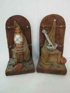 Nautical Bookends - Vintage - Chalkware / Plaster - Heavy