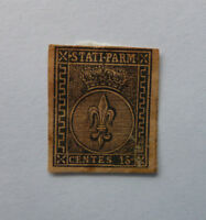 1852 ITALIAN STATE PARMA COAT OF ARMS 15C ROSE PAPER MINT STAMP (FORGERY)