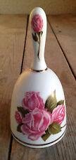 "Bell #L Danbury Mint Mothers Day Bell 1980 Porcelain Ceramic Pink Roses 5 1/2"""