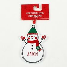 NEW Aaron Snowman Christmas Ornament Personalized Holiday Tree Decor Decoration