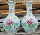 Pair of fine porcelain Chinese vases with insects signed mark - republic